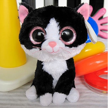 "Free shipping - Ty Pepper the Black and White Cat Beanie Boos Stuffed Plush Toy 5"" big eyes soft animal toy fabric doll gift"