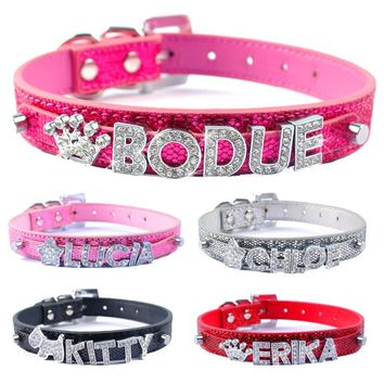 DIY Name Dog Collars Bling Personalized Pet Dog Collar With Diamond Bucklet Puppy Cat Necklace W Letters & Charms collar perro