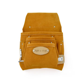 91925 - 9 Pocket Nail and Tool Pouch in Heavy Duty Suede Leather