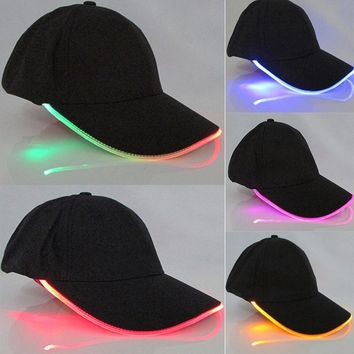 Men Women LED Light Glow Baseball Caps Hot New Fashion Adult Cool Club Party Luminous Noctilucent Flash Hat For Travel Sports