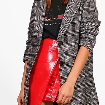 Sian Check Wool Look Coat | Boohoo