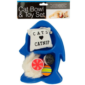 Fish-Shaped Cat Bowl & Toy Set: Case of 4