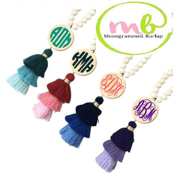 Monogrammed 3-Tier Wood Beaded Necklace with Tassel in Green, Pink, Blue or Purple