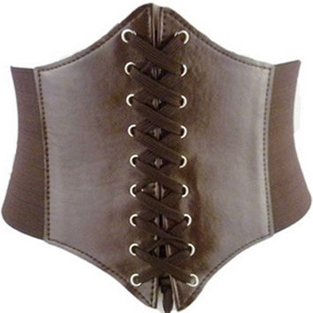Women Lady Waist Cincher Corset Wide Band Elastic Tied Waspie Belt Coffee = 1930089476