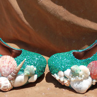 Turqouise Glitter and Seashell Mermaid Pump