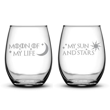 Premium Game of Thrones Wine Glasses, Set of 2, Moon of My Life, My Sun and Stars, Hand Etched 14.2oz Stemless Gifts, Made in USA