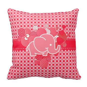 Red and Pink Plaid with Elephant Throw Pillow