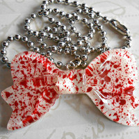 Dexter Inspired Blood Spatter Bow Necklace