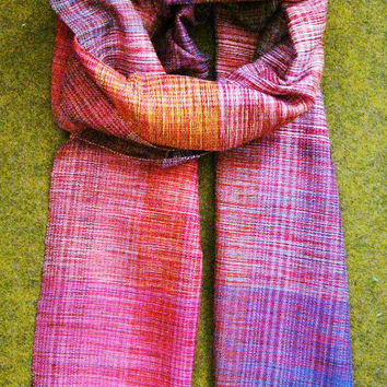 Womens Scarves. Pashmina. Gift For Her. Handmade Woven Scarf. Women Accessories. Pink Purple. Unique Design by Three Snails. Free Shipping!