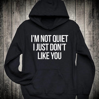 I am Not Quiet I Just Dont Like You Funny Introvert Slogan Hoodie Sarcastic Sarcasm Sweatshirt Sassy Grunge Antisocial Clothing