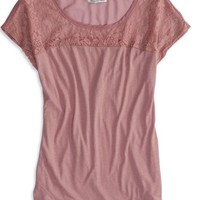 AEO Women's Factory Chiffon Paneled T-shirt