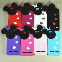 White Cartoon Mickey Rat Minnie Mouse Silicone Case Skin Cover for iPhone4/4S