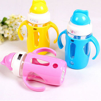 New Cute Baby Cup Children Learn Feeding Drinking Water Straw Handle Bottle Sippy Training Baby Food Milk Bottle