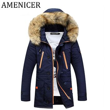 Men Parka 2017 Stand Collar Slim Fit Mens Winter Down Jacket Hooded Suits Clothes For Male Long Coat Jackets Fashion Raincoat