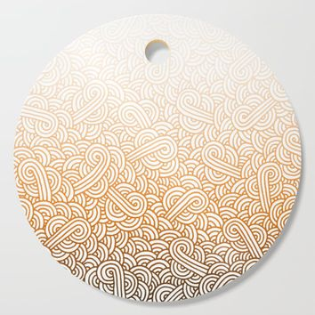 Gradient orange and white swirls doodles Cutting Board by savousepate