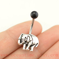 belly ring,Elephant Belly Button Rings,elephant Navel jewelry,lucky belly button jewelry,friendship belly rings,bellyring