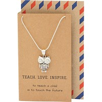 Jazel Teach. Love. Inspire Owl Pendant Necklace, Gifts for Teachers, comes with Inspirational Quote