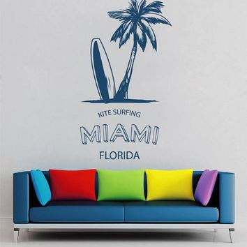 ik2550 Wall Decal Sticker miami florida palm tree board surfing Living sports shop