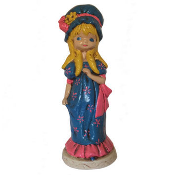 Vintage Bonnet Girl Mod Statue Chalkware LARGE Figurine Kitsch Blonde Girl