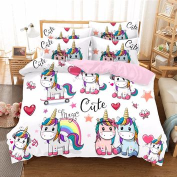 Cute Unicorn Series Bedding Sets Kids Duvet Cover Set Luxury Personalise 3D Pattern Soft Bedding Sets 2018 bed Queen Size F