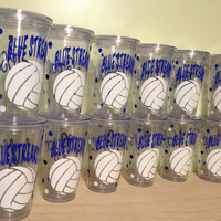 Quantity 12 Personalized acrylic tumbler w/ lid and straw - Volleyball, basketball, baseball, any sport, Clear or Black cup