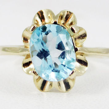 Sky Blue Topaz 14k Yellow Gold Oval Crown Ring, Solid 14 Karat Gold Ring, December Birthstone Ring, Sky Blue Topaz Ring, 14k Gold Crown Ring