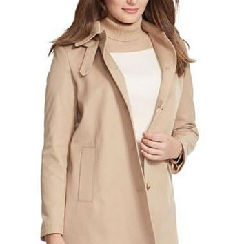 Plus Size Women's Lauren Ralph Lauren A-Line Coat with Detachable Hood,