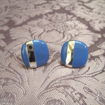 Vintage Jewelry Signed Monet Blue Enamel Silvertone 1970's Square Clip Earrings