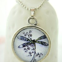 Pretty Purple Drawing Dragonfly 18mm Small Glass Pendant Necklace Gift