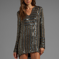 10 CROSBY DEREK LAM Digital Sequins Long Sleeve Dress in Gold from REVOLVEclothing.com