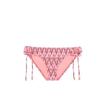 Sweet Pea Tie Side Bikini Bottom - Radio Pink Waves Print