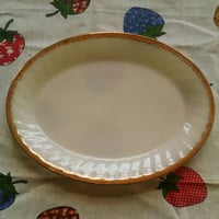 Vintage Anchor Hocking Fire King White and Gold Milk Glass Oval Serving Platter