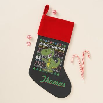 Personalized Green Dino Ugly Christmas Sweater Christmas Stocking