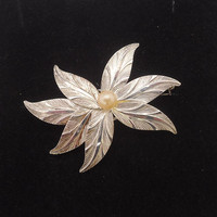 Sterling Silver Brooch, Brooch/Pendant with Faux Pearl, Sterling Silver Brooch/Pendant by K&L