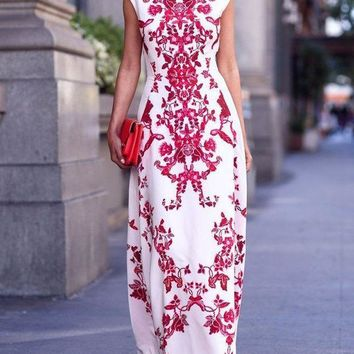 CREYONX5H White and Red Paisley Print Cap Sleeve Maxi Dress