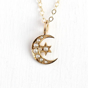 Star & Moon Necklace - Antique Edwardian 14k Rosy Yellow Gold Stick Pin Conversion Pendant - Seed Pearl Crescent Celestial Romantic Jewelry