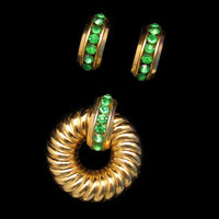 Coro Mid Century Retro 1940s Green Channel Rhinestones Brooch Pin Earrings Vintage Set