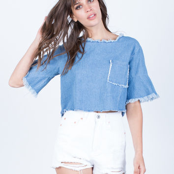 Back Tie Denim Crop Top