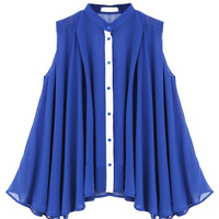 Blue Sleeveless Pleated Chiffon Blouse