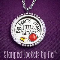 Big Hearts Shape Little Minds - Hand Stamped Floating Memory Locket - Glass and Stainless Steel - Teacher Gift - Educator Librarian Necklace