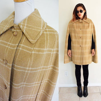 Vintage 70's wool cape check nude cream creme beige medium length plaid pocket thick coat