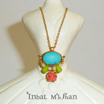 ROSE peach turqouise neckelce, colorful gemstone neckelce , delicate chain, pendent, 24k gold necklace.