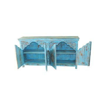 Distressed Antique Indian Damchia Banjara Tribal Hand-carved Sideboard