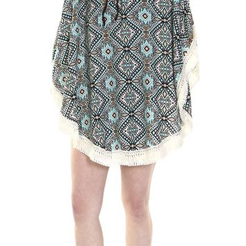 Blue Tribal Print Coverup Poncho Scarf