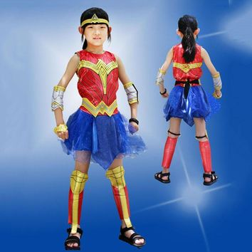 KTLPARTY Super Girl children kid Wonder Woman Costume Fancy Dress Halloween customes supergirl costumes headband sleeve covers