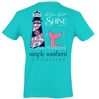 Simply Southern Preppy Collection Lighthouse T-shirt for Women in Pool PRPSHINE-POOL