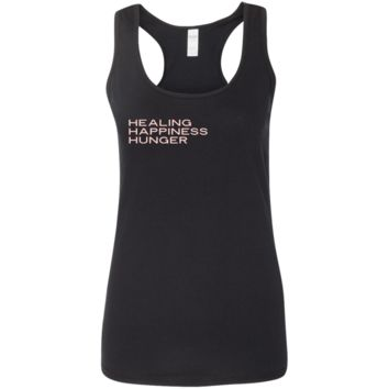 Healing, Happiness, Hunger Softstyle Racerback Tank