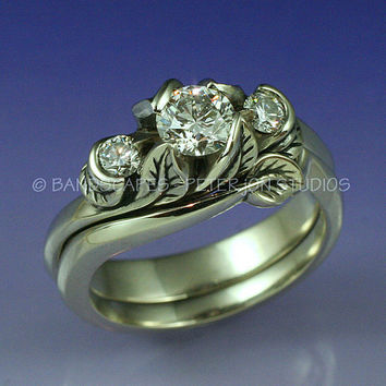 PACIFIC WILLOW 3-Stone Wedding Ring set. Diamonds in gold. Rose, Yellow, or White gold