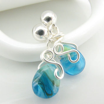 Aqua Glass Earrings, Wire Wrapped and Sterling Silver Post Earrings
