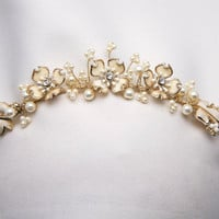 Gold and ivory wedding tiara of vintage flowers and pearls